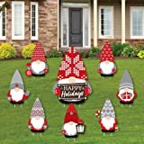Big Dot of Happiness Christmas Gnomes - Yard Sign and Outdoor Lawn Decorations - Holiday Party Yard Signs - Set of 8