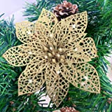 TURNMEON 24 Pack 6 Inch Christmas Glitter Poinsettia Artificial Silk Flowers Picks Christmas Tree Ornaments for Gold Christma