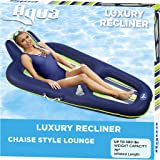 """Aqua AZL16263 Oversized Deluxe Pool Lounger, Inflatable Pool Float, Heavy Duty, X-Large, 70"""", Navy/Green/White Stripe"""