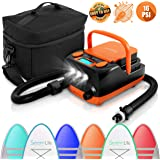 Electric SUP Air Pump Compressor - 16PSI Rechargeable SUP Pump 12V Stand Up Paddle Board Electric Pump Inflator/Deflator - Po