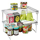 2 Pack - DecoBros Stackable Kitchen Cabinet Organizer Chrome