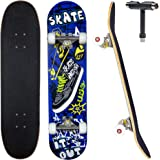 """JECOLOS Pro Complete Skateboards for Beginners Adults Teens Kids Girls Boys 31""""x8"""" Skate Boards 7 Layers Deck Maple Wood Long"""