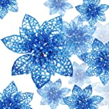 Boao 24 Pieces Glitter Poinsettia Christmas Tree Ornament Christmas Flowers Decor Ornament, 3/4/6 Inches (Blue)