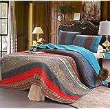 Exclusivo Mezcla 100% Cotton 3-Piece Paisley Boho King Size Quilt Set/Bedspread- Lightweight, Reversible& Decorative