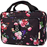 Large Hanging Travel Cosmetic Bag For Women - Versatile Toiletry And Cosmetic Makeup Organizer With Many Pockets Black roses