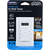 myTouchSmart in-Wall Digital Timer, 4 Programmable On/Off Buttons, 2 Easy On/Off Buttons, 24 Hour Daily Cycles, Blue LED Indi