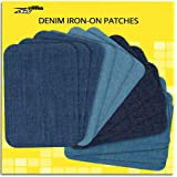 ZEFFFKA Premium Quality Denim Iron-on Jean Patches Inside & Outside Strongest Glue 100% Cotton Assorted Shades of Blue Repair