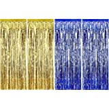 Sumind 4 Pack Foil Curtains Metallic Fringe Curtains Shimmer Curtain for Birthday Wedding Party Christmas Decorations (Blue a