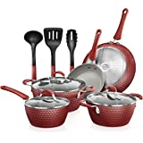 NutriChef Non-stick Kitchenware Pots & Pans - 11 Pcs. Stylish Kitchen Cookware Set w/Elegant Diamond Pattern, Gray Inside & R