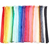 #3 Nylon Coil Zippers for Sewing, 50 Colors (24 Inches, 100 Pieces)