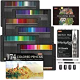 174 Colors Professional Colored Pencils, Shuttle Art Soft Core Coloring Pencils Set with 1 Coloring Book,1 Sketch Pad, 4 Shar