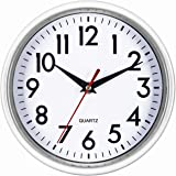 """Bernhard Products White Wall Clock 8"""" Silent Non-Ticking Quality Quartz Battery Operated Clock for Home/Kitchen/Office/Classr"""