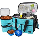 PetAmi Pet Travel Bag | Airline Approved Tote Organizer with Multi-Function Pockets, Food Container Bag and Collapsible Bowl