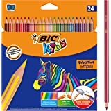 BIC 965757 Kids Evolution Stripes Colouring Pencils - Assorted Colours, Pack of 24
