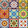 Tile Stickers 24 PC Set Authentic Traditional Talavera Tiles Stickersl Bathroom & Kitchen Tile Decals Easy to Apply Just Peel