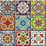 Mi Alma Backsplash Tile Stickers 24 PC Set Authentic Traditional Talavera Tiles Stickersl Bathroom & Kitchen Tile Decals Easy