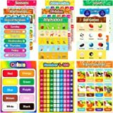 Educational Preschool Posters 20 Pieces(16×11 in) for Toddlers and Kids, Early Learning Chart for Wall, Kindergarten Learning