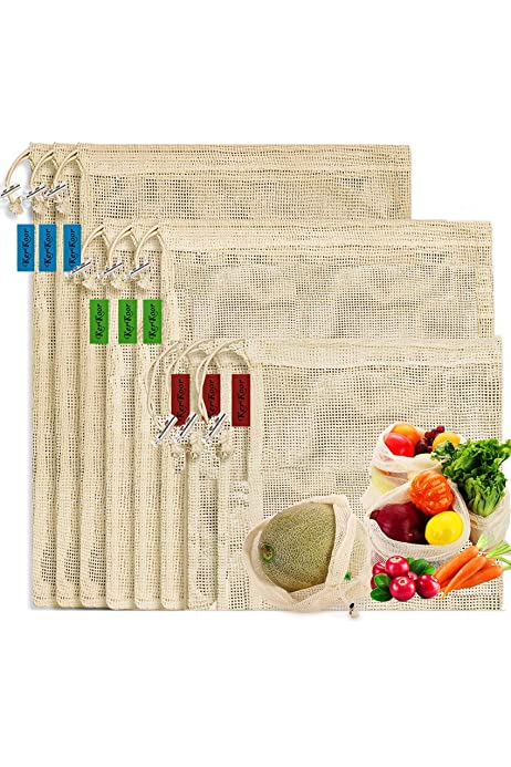 Set Of 9 Premium Org... + Bonus Stainless Steel Straws Details about  /Reusable Produce Bags