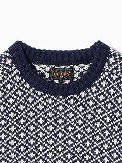Wool Snowflake Pattern Crewneck Sweater 11-15-0870-048: Navy