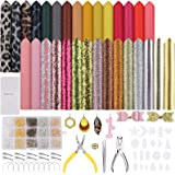 Jewora 495Pcs Leather Earring Making Kit, 5 Kind 8.3 x5.9 Inch 30Pcs Faux Leather Sheets with Earring Hooks & Tools, Hair Cli