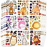Sinceroduct Make Your Own Stickers Woodland Teaching Make-a-Face Stickers 100 Pack Party Favor Stickers with 20 Animal Design