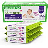 Baby Green Biodegradable Baby Wipes Natural perfume – Value Pack (12 Packs of 72) 864 – compostable 99% Pure Water Plastic FR