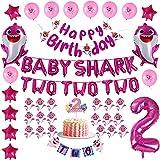 Pink Baby Shark 2nd Birthday Decorations for Girl - Pink Baby Shark TWO TWO TWO and Number 2 Foil Balloons 2 DOO DOO Cake Top