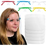 TCP Global Salon World Safety Kids Face Shields with Glasses Frames (Pack of 5) - 5 Colors, 1 Each - Protective Children's Fu