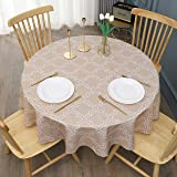 "Aoohome Quatrefoil Geometric Fabric Tablecloth, Water Repellent, Spill Proof, Suitable for Dinner, Polyester, Khaki, 60"" Roun"