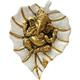 Charmy Crafts Metal Ganesha On Leaf, Wall Hanging Article for Wall Decor, Wedding Gifts, Best for Housewarming, Room Decor (W
