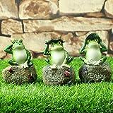 JUNIQUTE 3 Packs Garden Deco Frog Statues Sets Outdoor Patio Ornaments Yard Decorations Art Figurines the Lawn Balcony Desk