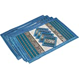 Placemat and Coaster 4 Packs 2 Sizes Large (Large Blue)