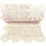 Zenviro 'The Boho Throw' - 100% Cotton Hand Knitted Crochet Macrame Throw Blanket - for Couch Chair Sofa Bed 50x60 inch