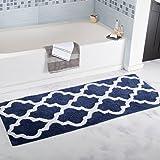 "Lavish Home Trellis Bathroom Mat, Navy, 24"" x 60"""