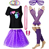 POKERGODZ Women I Love The 80's T-Shirt with Star Sequin Tutu Skirt Plus Size Costume Outfit Accessory