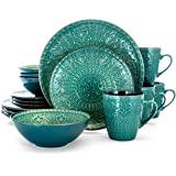 Elama Sea Foam Mozaic Round Stoneware Embossed Dinnerware Dish Set, 16 Piece, Ocean Teal and Green