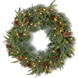 National Tree 24 Inch Feel Real ® Colonial Wreath with 8 Pine Cones, 8 Red Berries and 50 Dual Color ® Battery Operated LED L