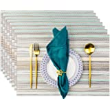 Placemats, Placemats for Dining Table Set of 8 Waterproof, Woven Place Mats for Kitchen Table Vinyl Heat Insulation Stain Res