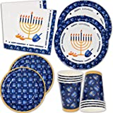 """Hanukkah Plates and Napkins for 24 Guests Includes 24 9"""" Dinner Plates 24 7"""" Dessert Plates and 48 Luncheon Napkins Chanukah"""