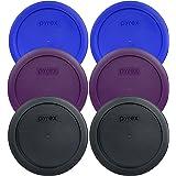 Pyrex 7201-PC 4 Cup (2) Cadet Blue 1118616 & (2) Purple 1119050 & (2) Black 1113802 Lid (6-Pack)