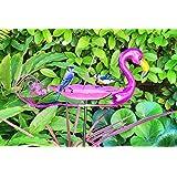 Large Outdoor Flamingo Bird Bath Stake, Sparkling Pink Metal & Glass Birdbath, Bird Feeder, Flamingo Bird Bath For Garden, Ya