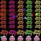 Zonon 40 Pieces Happy Birthday Cake Toppers Glow Party Neon Cake Topper Birthday Cupcake Topper Colorful Birthday Cake Picks