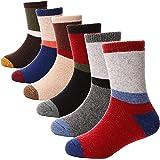 ANTSANG Kids Wool Hiking Socks Toddlers Boys Girls Winter Warm Thick Thermal Crew Boot Heavy Cozy Gift Socks 6 Pairs