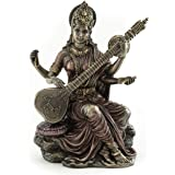Top Collection Small 5.75 Inch Beautiful Saraswati Hindu Goddess of Knowledge and Wisdom Real Premium Cold Cast Bronze Figuri