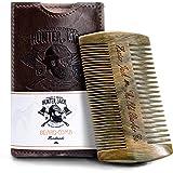 Hunter Jack Beard Comb Kit for Men - Great for Head Hair Beard & Mustache - Handmade Premium Sandal Wood - Fine Dual Action T