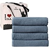 DOLLCENT- 600 GSM 4 Pack Jacquard Chevron 100% Combed Cotton Bath Towels Set- Hotel Spa Towel- Super Absorbent Ultra Soft Cot
