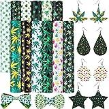 Zomiboo 12 Pieces Marijuana Leaf Print Faux Leather Sheets PU Leather Sheets Synthetic Leather Fabric Assorted Patterns Print