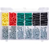 T.K.Excellent Phillips Pan head Self Tapping Screws and Ribbed Anchors Assortment Screws Kit400Pcs