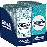 Cottonelle Flushable Wipes, 24 On-The-Go Travel Packs (2 Trays of 12), 336 Total Wipes