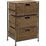 "Trademark Innovations 24"" Seagrass and Metal 3-Drawer Storage Chest"